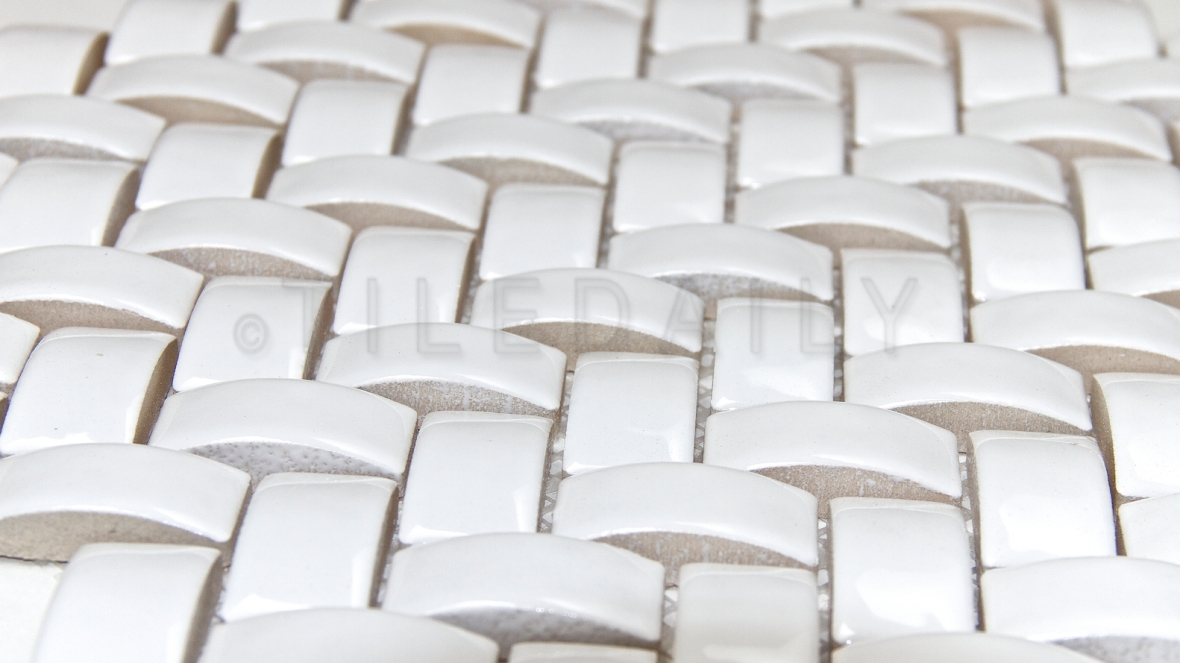 PM0036 - 3D Herringbone White Ceramic Mosaic