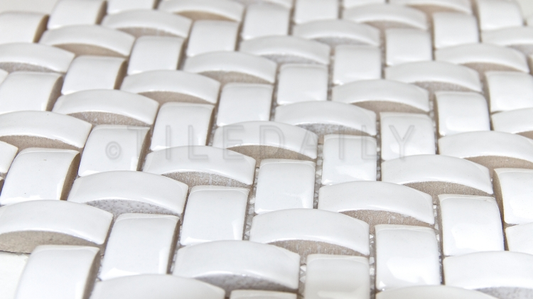 PM0036 - 3D Herringbone White Ceramic Mosaic