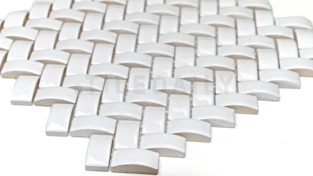 3d Herringbone White Ceramic Mosaic Tiledaily