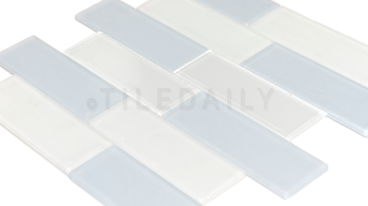 GM0072 - 2x6 Glass Subway Tile, Pale Blue and Milky White