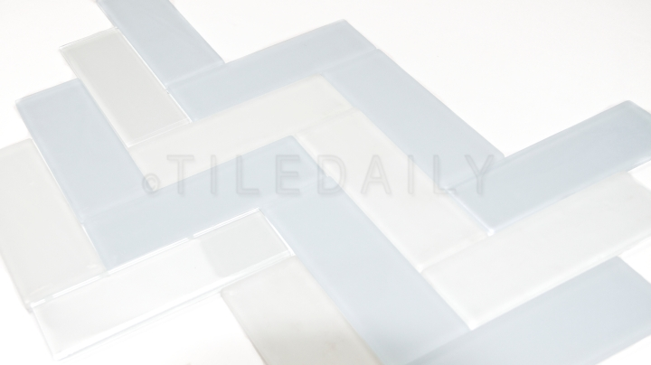 Glass Subway Tile, Pale Blue and Milky White