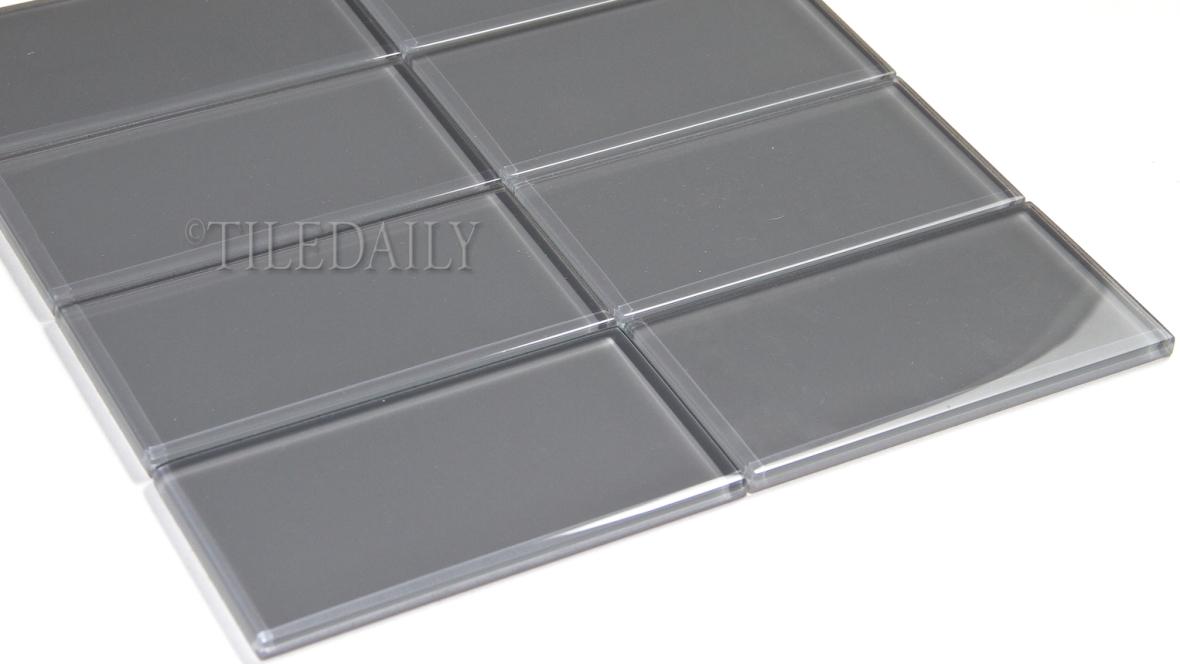 GM0118 Grey Subway Glass Mosaic, Stacked Pattern, TileDaily