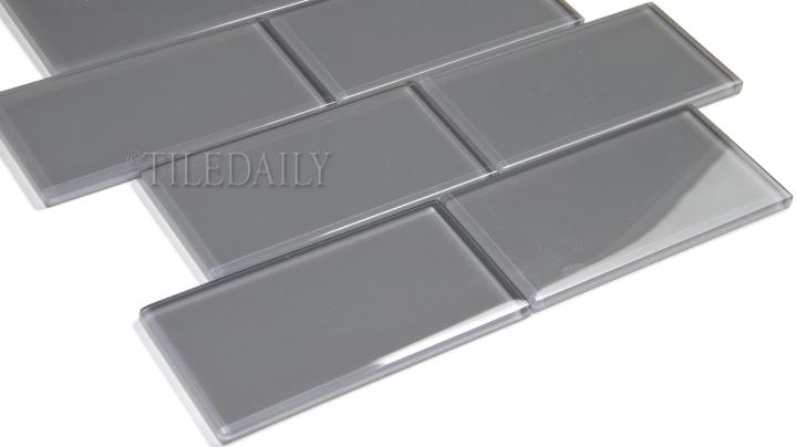 GM0118 Grey Subway Glass Mosaic, Brick Pattern, TileDaily