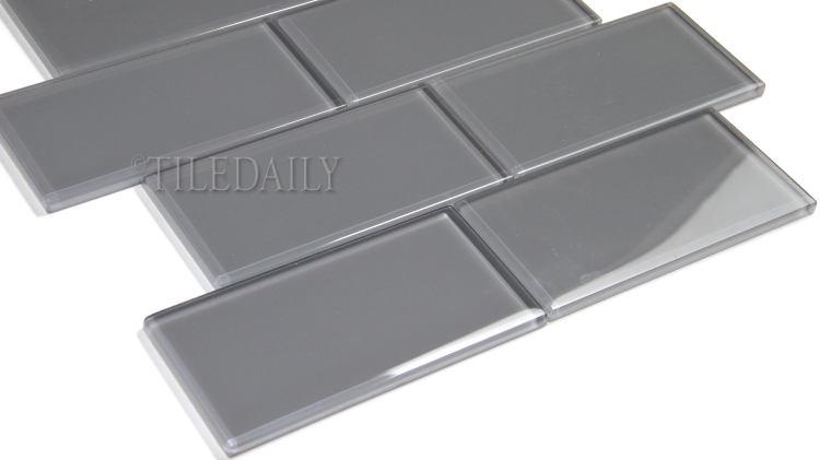 GM0118 Grey Subway Glass Mosaic, Brick Pattern, TileDaily