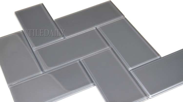 GM0118 Grey Subway Glass Mosaic, Herringbone Pattern, TileDaily