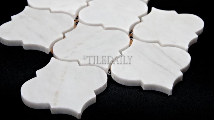 Lantern Marble Mosaic, WhiteCarrara