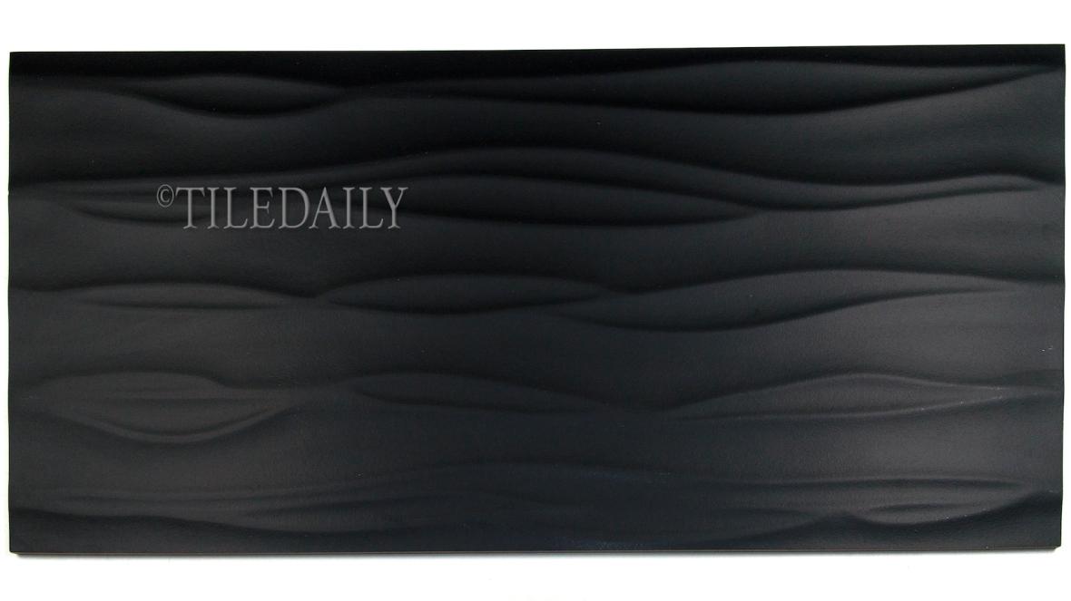 P0074 Wave Matte Porcelain Tile, Black