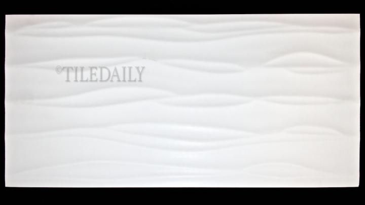 P0074 Wave Matte Porcelain Tile, White