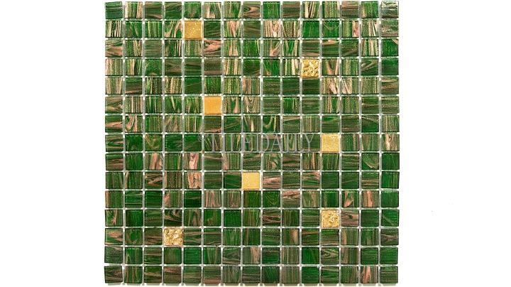GM0119 Kelly Green and Gold Mix Glass Mosaic 02