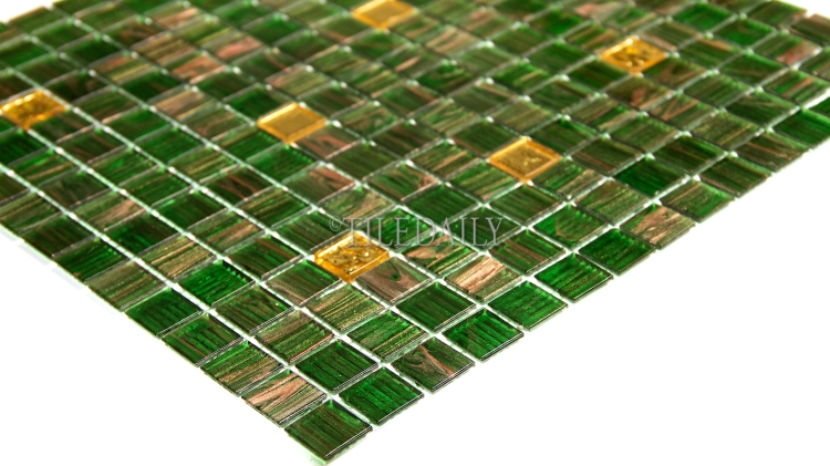GM0119 Kelly Green Gold Mix Glass Mosaic