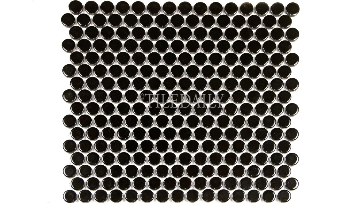 PM0006BK - Penny Round Porcelain Mosaic, Glossy Black