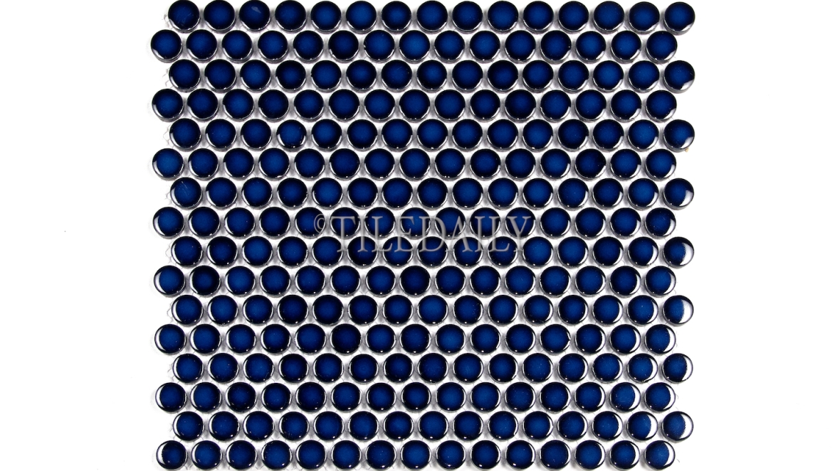 PM0006NBE - Penny Round Porcelain Mosaic, Navy Blue