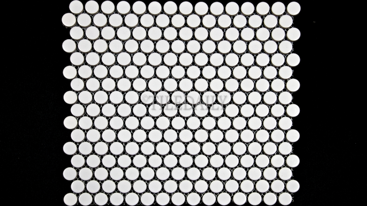 PM0006WE - Penny Round Porcelain Mosaic, Glossy White