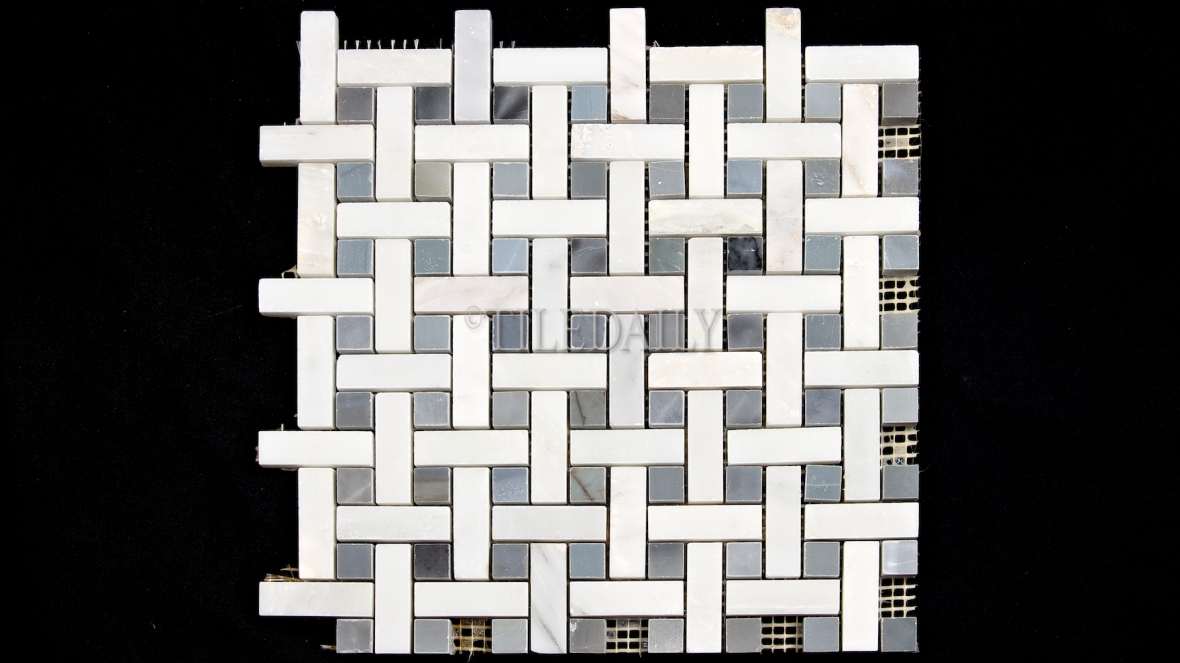 NS0065BE Weave Marble Mosaic, Turkish Blue
