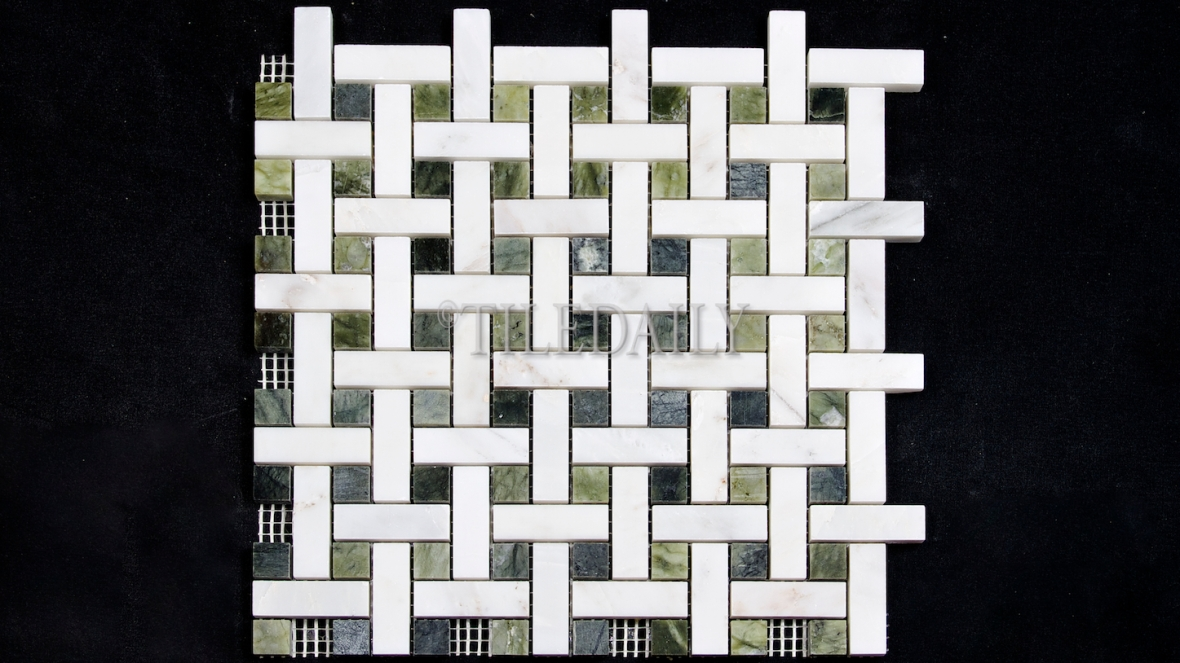 NS0065GN Weave Marble Mosaic, Jade Green
