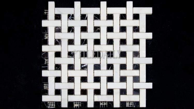 NS0065Bk Weave Marble Mosaic, Nero Black