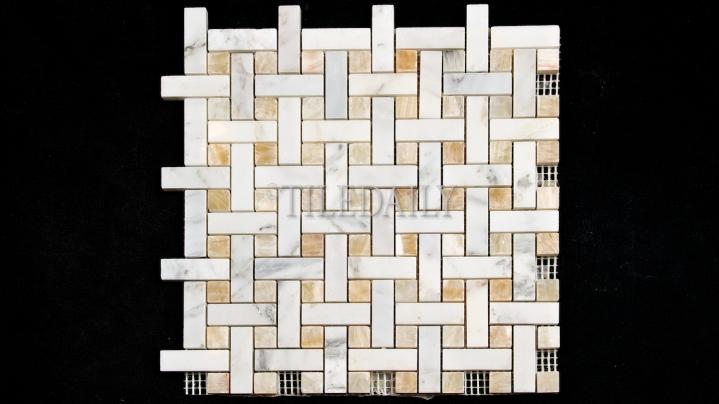 NS0065GD Weave Marble Mosaic, Honey Onyx