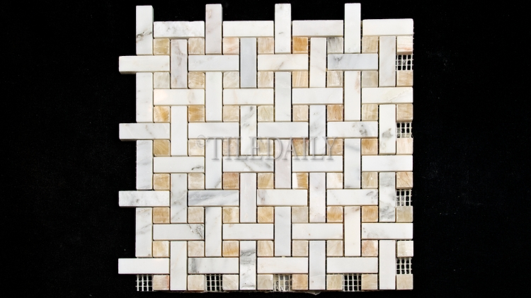 NS0065GD Weave Marble Mosaic, Honey Onyx