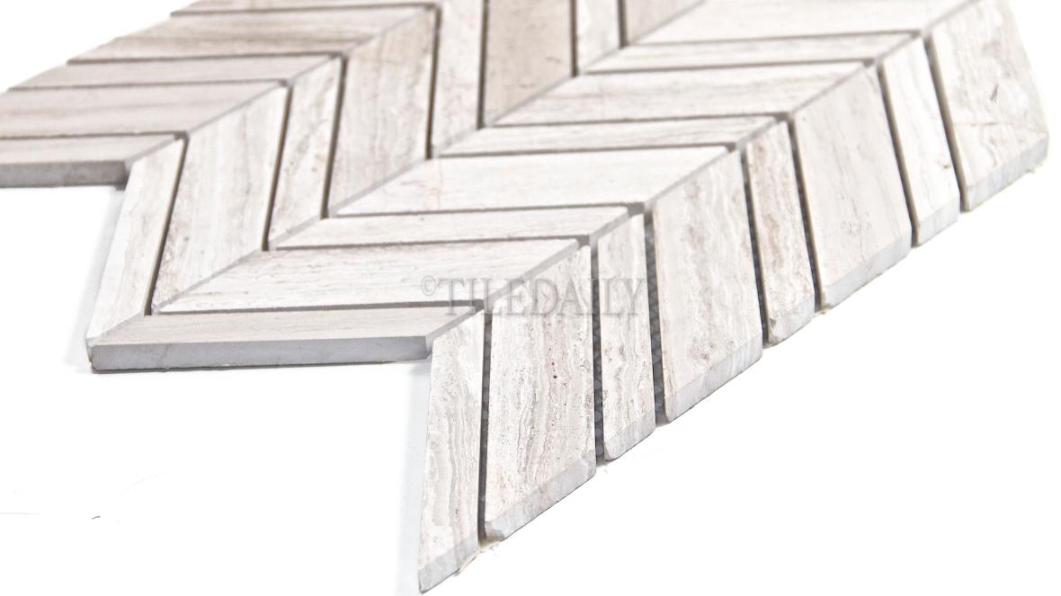 NS0070 - Chevron White Oak Marble Mosaic