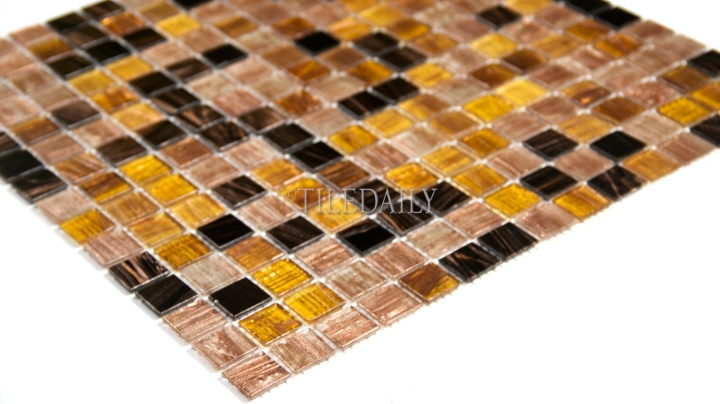 Gold Shimmer Glass Mosaic, Bronze Mix