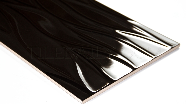 Leaf Wave Ceramic Tile, Black, TileDaily, P0079BK