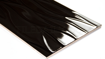 Leaf Wave Ceramic Tile, Black, TileDaily