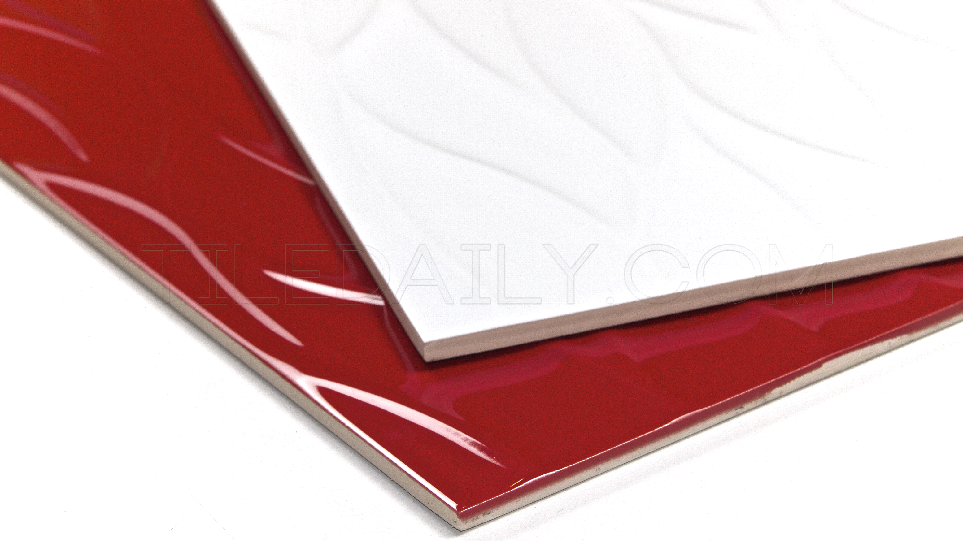 Leaf wave ceramic tile red white tiledaily 12x36 leaf wave 3d ceramic wall tile red white dailygadgetfo Choice Image