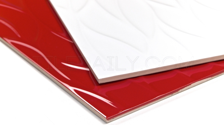 12x36 Leaf Wave 3D Ceramic Wall Tile, Red, White
