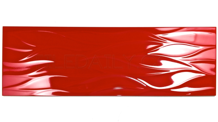 12x36 Leaf Wave 3D Ceramic Tile in Red Available at TileDaily