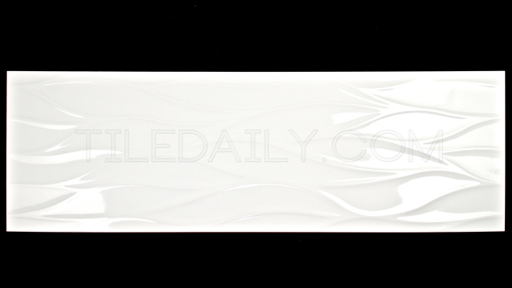 12x36 Leaf Wave 3D Ceramic Tile in White Available at TileDaily