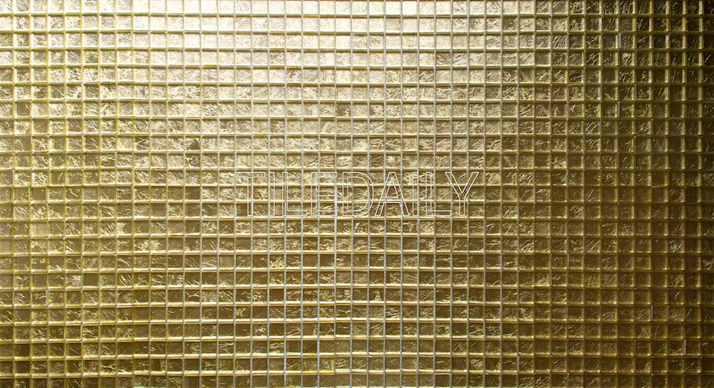 1x1 Square Gold Glass Mosaic Tile. Available at TileDaily