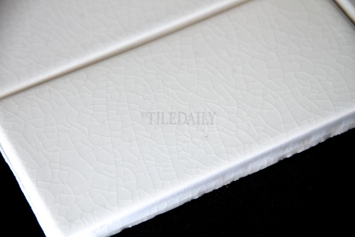 P0080 - 3x6 Crackle Glazed Porcelain Tile, White