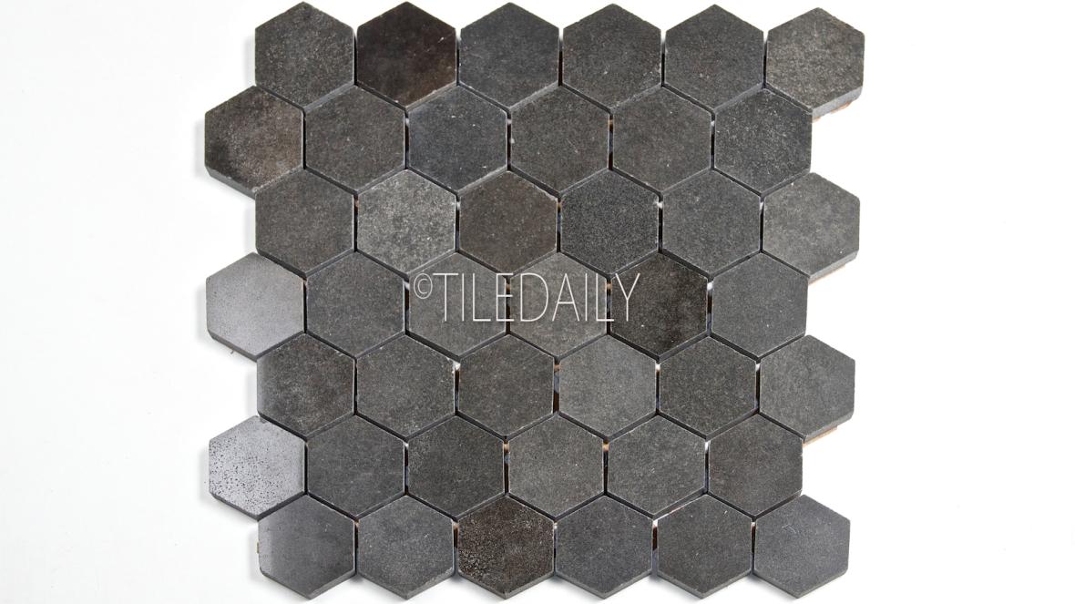 "2"" Basalt Hexagon Mosaic Tile at TileDaily"
