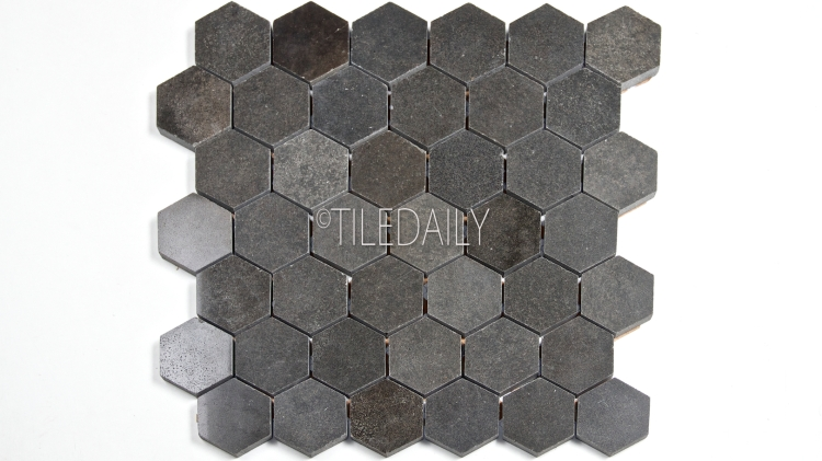 "2"" Basalt Hexagon Mosaic Tile at TileDaily"