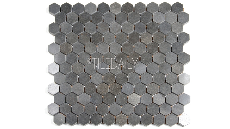 "1"" Basalt Hexagon Mosaic Tile at TileDaily"