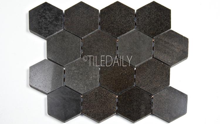 "3"" Basalt Hexagon Mosaic Tile At TileDaily"
