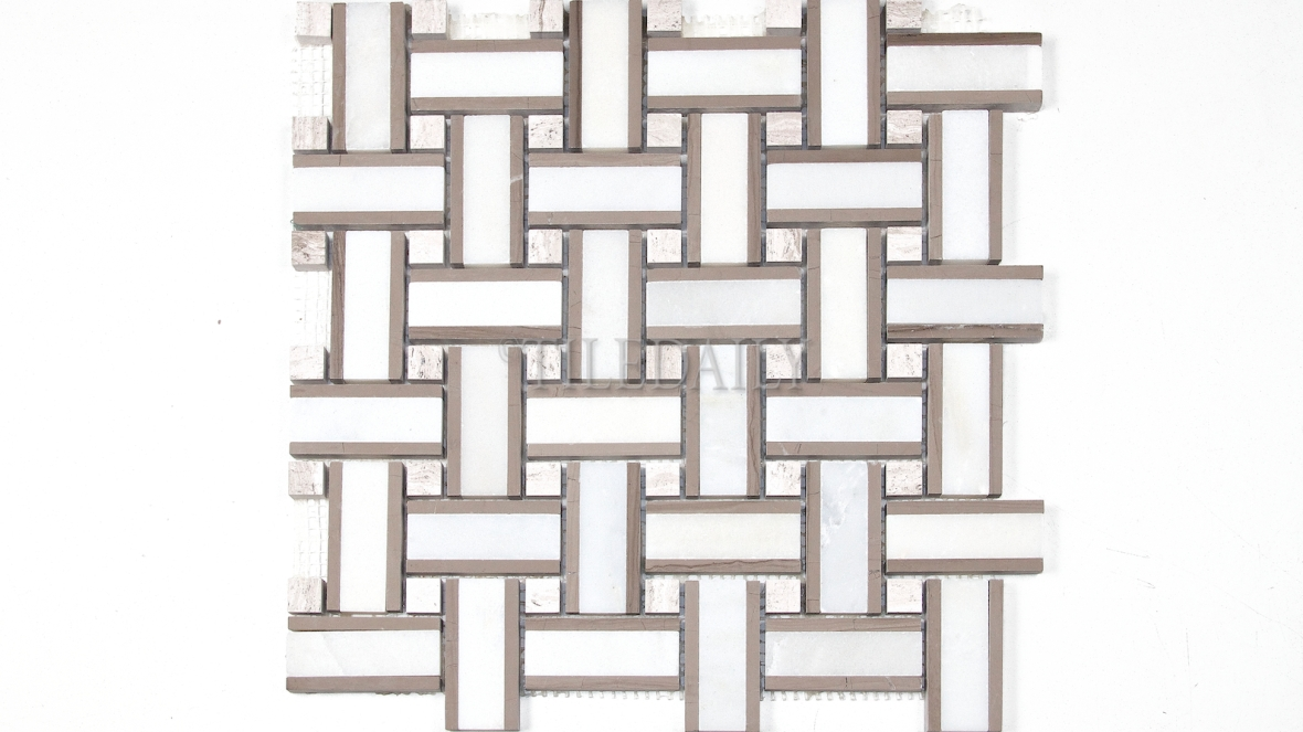 NS0071 - Basket Weave Marble Mosaic, White Taupe Mix