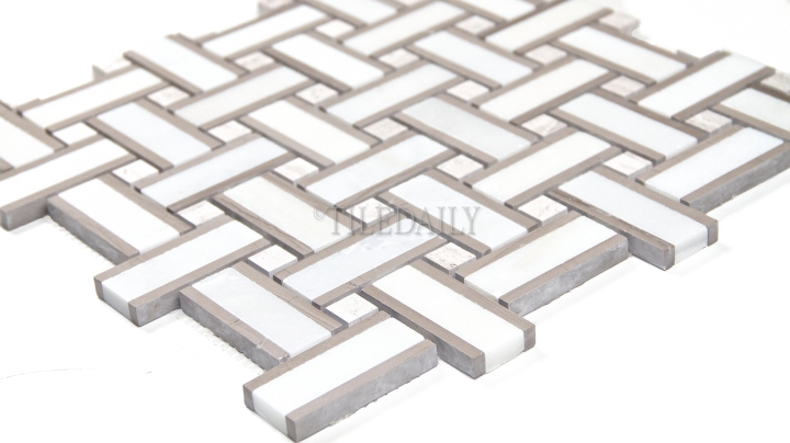 Basket Weave Marble Mosaic, White Taupe Mix