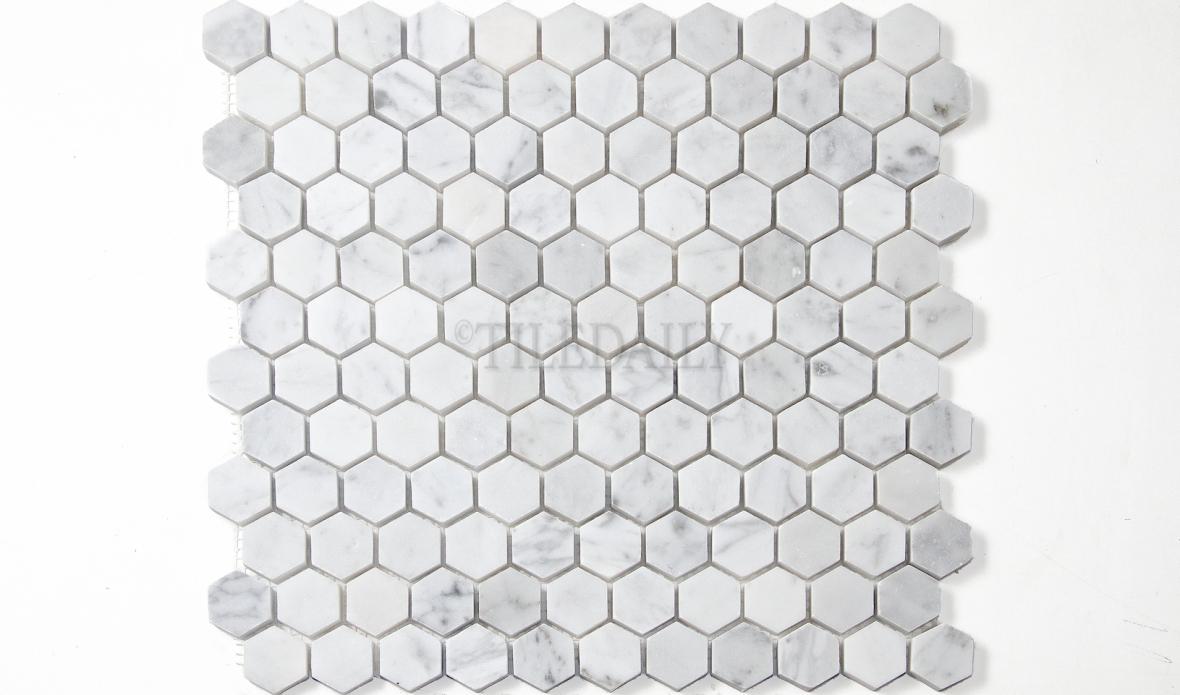 "NS0050WEG - 1"" Carrara Polished Hexagon Mosaic"