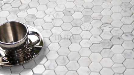 "NS0050WEG - 1"" Carrara Polished Hexagon Mosaic"