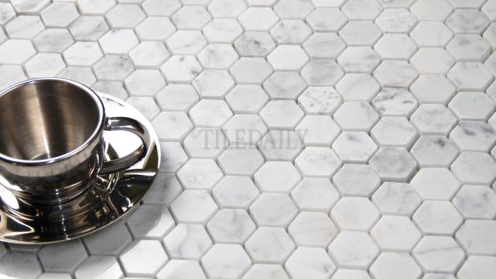 Carrara Polished Hexagon Mosaic