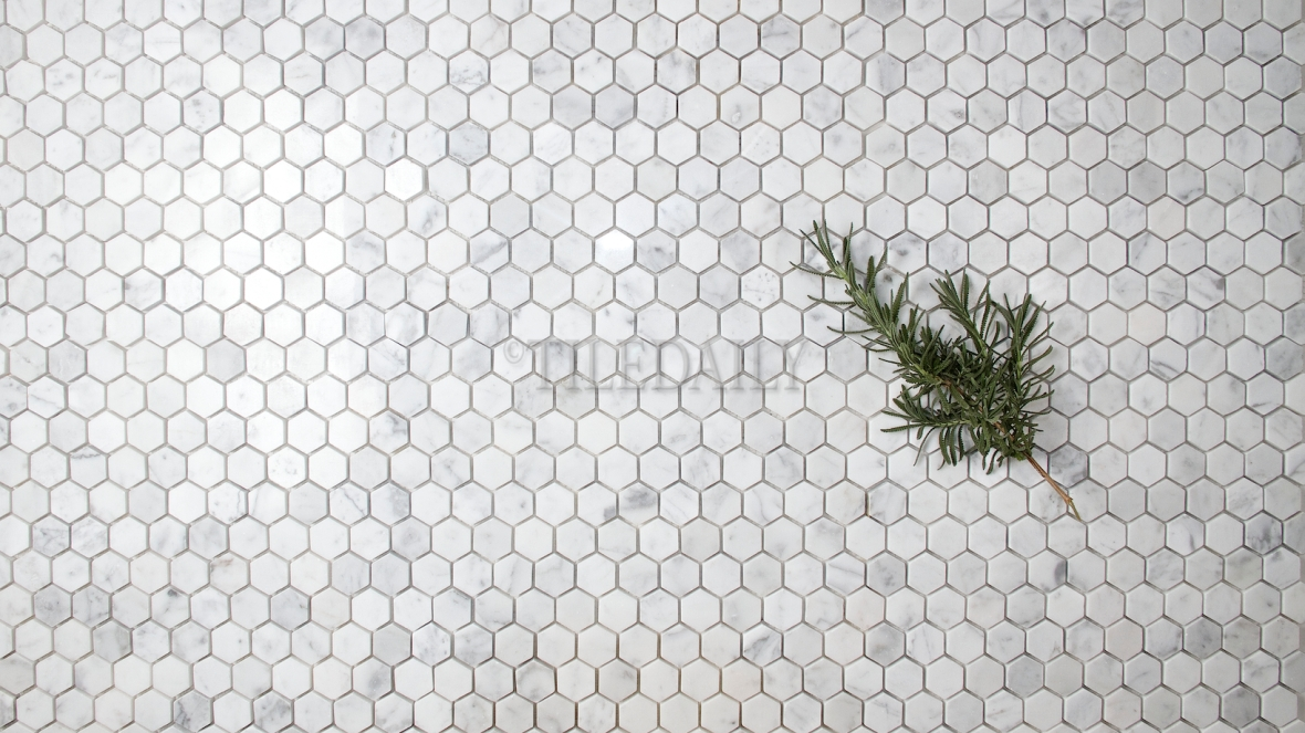 Hexagon Marble Polished Mosaic, White Carrara