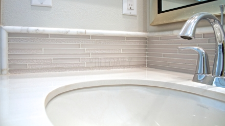 Featured Install - TileDaily Glass Backsplash: GM0084 - Random Brick Ripple Glass Mosaic, Cream