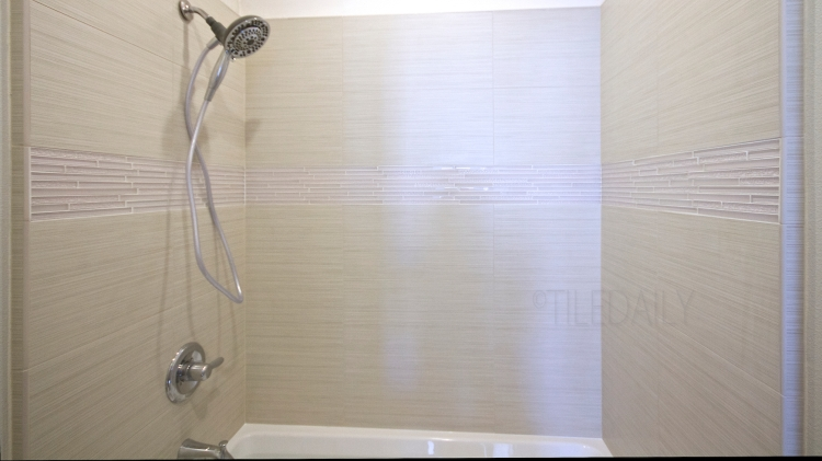 Featured Install - TileDaily Glass Backsplash: GM0084 - Random Brick Ripple Glass Mosaic, Cream Wall Tile: P0012OW - 12x24 Bamboo Pattern Porcelain Tile, Off White