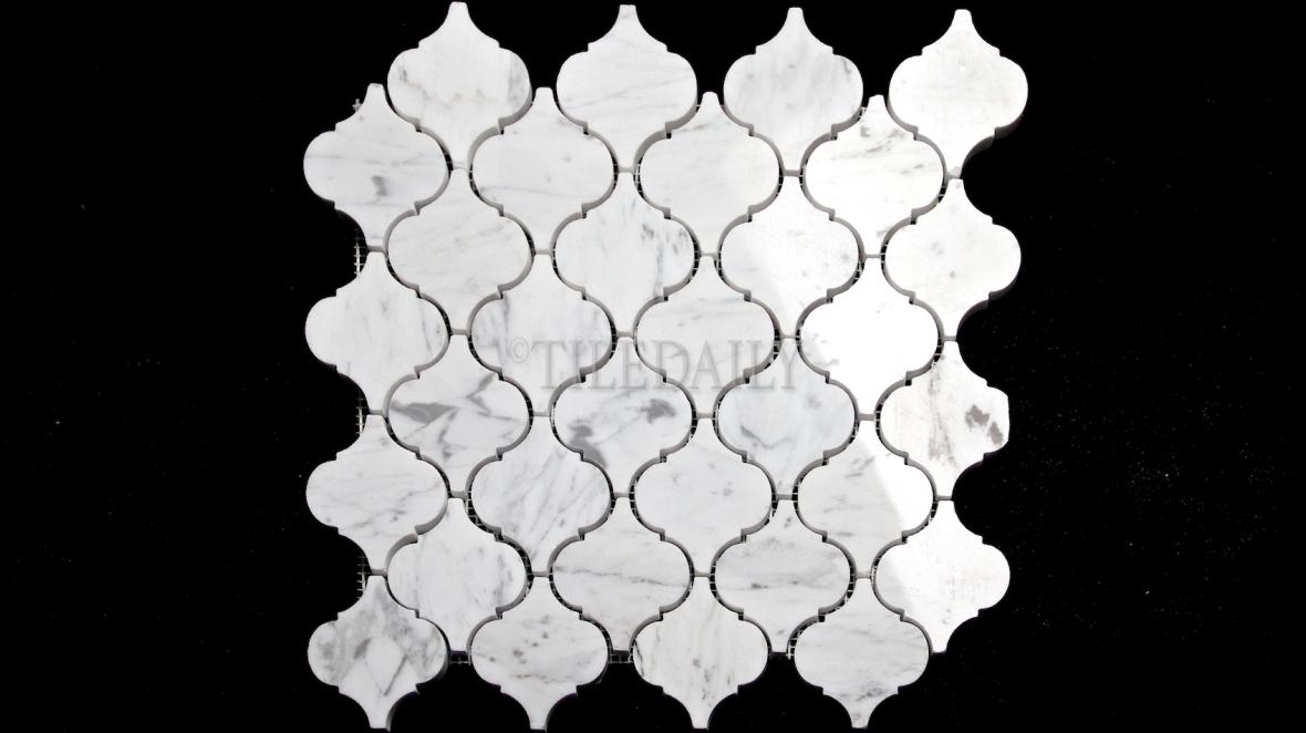 "NS0073BC - 2.75"" Bianco Carrara Lantern Marble Mosaic"