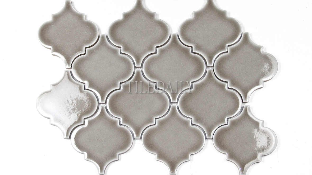 "PM0074GY - 4"" Lantern Series Porcelain Mosaic, Crackle Grey"