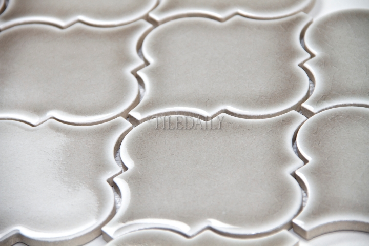 "PM0074GY -4""  Lantern Series Porcelain Mosaic, Crackle Grey"