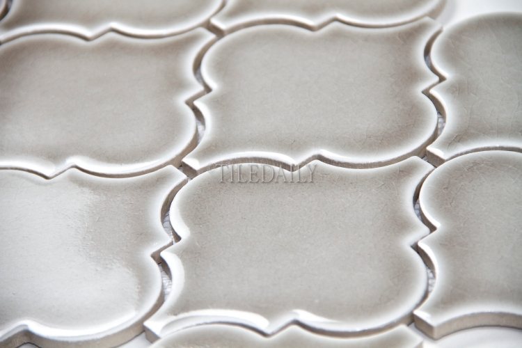 "PM0074GY -4""  Lantern Series Porcelain Mosaic, Crackle Grey"
