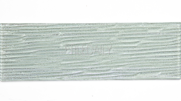 4x12 Ripple Texture Glass Tile in Light Green at TileDaily
