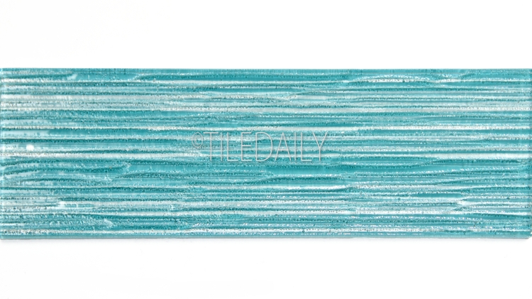 4x12 Ripple Texture Glass Tile in Turquoise at TileDaily